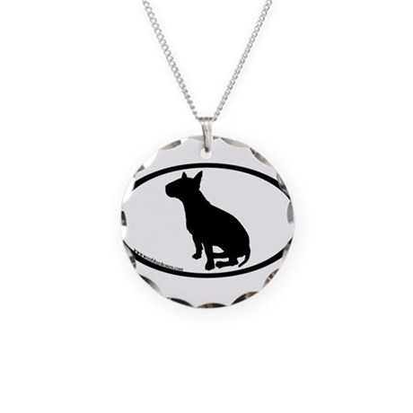 Bull Terrier Oval Necklace Circle Charm