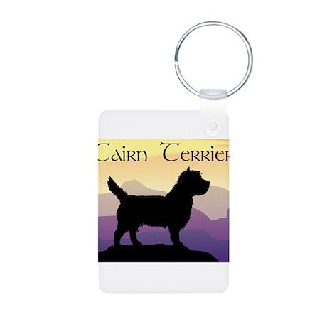Cairn Terrier Purple Mt. Aluminum Photo Keychain