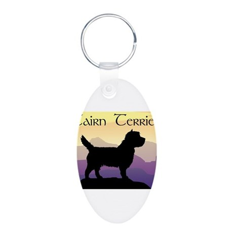 Cairn Terrier Purple Mt. Aluminum Oval Keychain