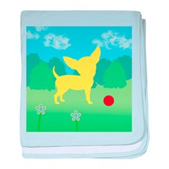Yellow Chihuahua Landscape baby blanket