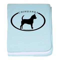 Oval Chihuahua w/text baby blanket