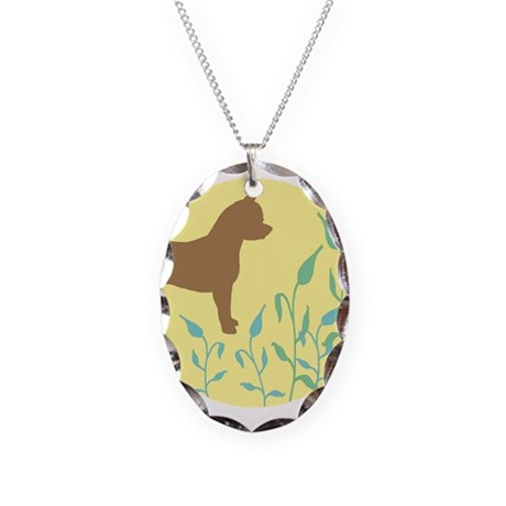Chihuahua With Leaves Necklace Oval Charm