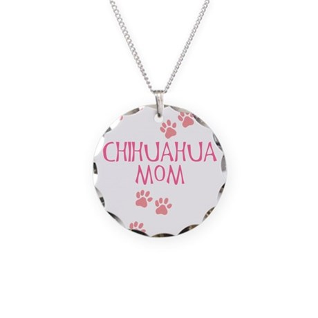 Pink Chihuahua Mom Necklace Circle Charm
