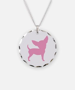 Pink Funny Cute Chihuahua Necklace Circle Charm