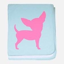 Pink Funny Cute Chihuahua baby blanket