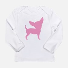 Pink Funny Cute Chihuahua Long Sleeve Infant T-Shi