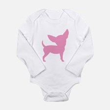 Pink Funny Cute Chihuahua Long Sleeve Infant Bodys