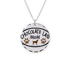 chocolate lab mom oval Necklace