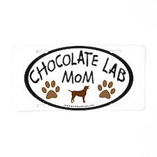 chocolate lab mom oval Aluminum License Plate