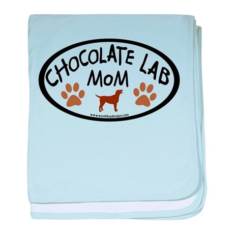 chocolate lab mom oval baby blanket