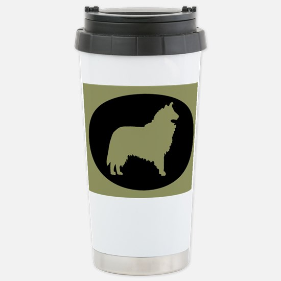Sage & Black Collie Stainless Steel Travel Mug