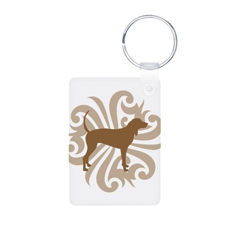 Brown & Tan Coonhound Aluminum Photo Keychain