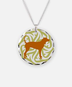 Lime & Rust Coonhound Necklace