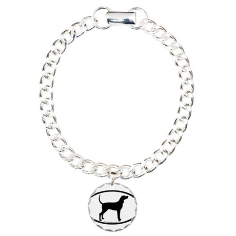 Coonhound #2 Oval Charm Bracelet, One Charm