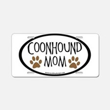 Coonhound Mom Oval Aluminum License Plate