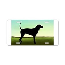 Coonhound In A Field Aluminum License Plate