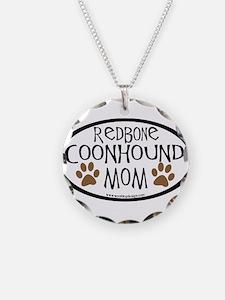 Redbone Coonhound Mom Oval Necklace