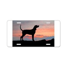 Redbone Coonhound Sunset Aluminum License Plate