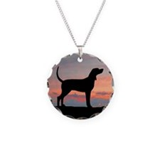 Sunset Coonhound Necklace Circle Charm