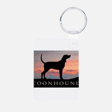 Sunset Coonhound Aluminum Photo Keychain