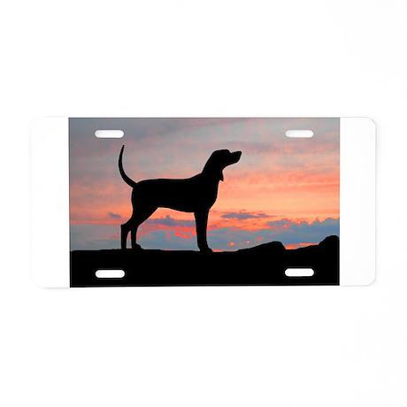 Sunset Coonhound Aluminum License Plate