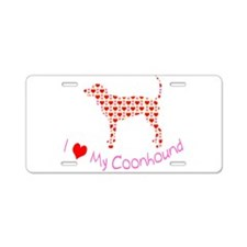 i heart my coonhound Aluminum License Plate