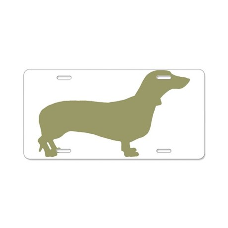 Sage Green Dachshund Aluminum License Plate