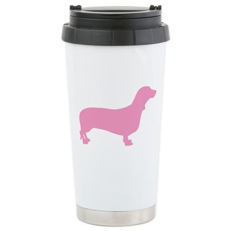 Pink Dachshund Stainless Steel Travel Mug