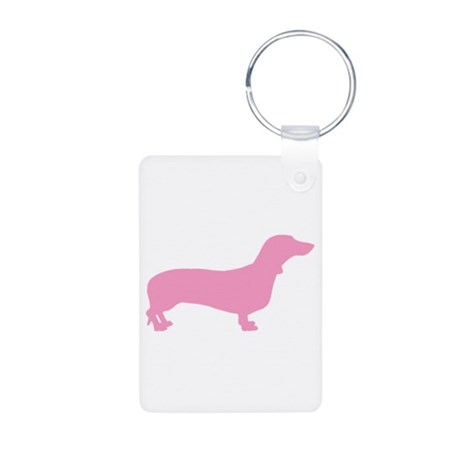 Pink Dachshund Aluminum Photo Keychain