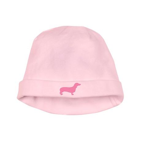 Pink Dachshund baby hat