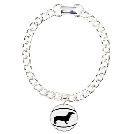 Dachshund Oval Charm Bracelet, One Charm