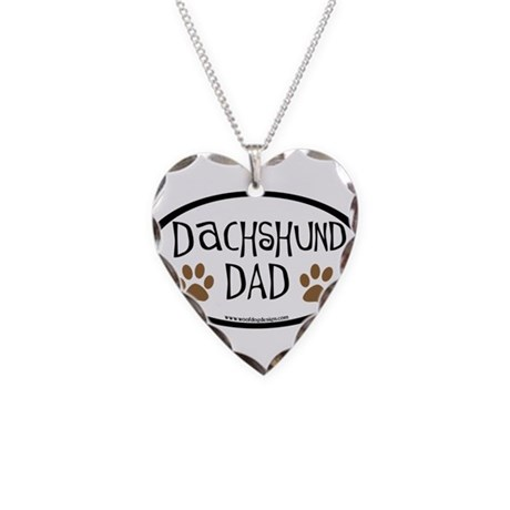 Dachshund Dad Oval Necklace Heart Charm