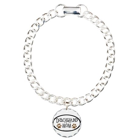 Dachshund Mom Oval Charm Bracelet, One Charm