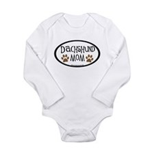 Dachshund Mom Oval Long Sleeve Infant Bodysuit