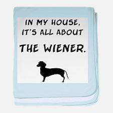 wiener in my house baby blanket