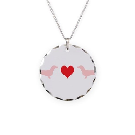 Dachshunds & Heart Necklace Circle Charm