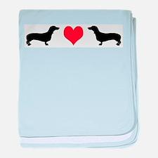 Dachshunds & Heart baby blanket