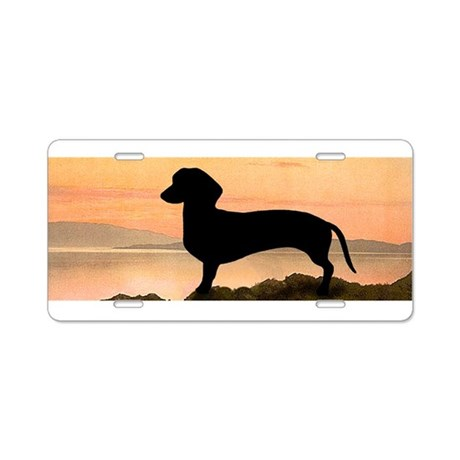 Dachshund Sunset Aluminum License Plate