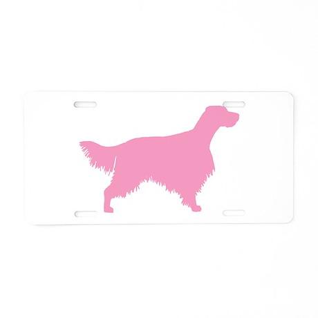 Pink English Setter Aluminum License Plate
