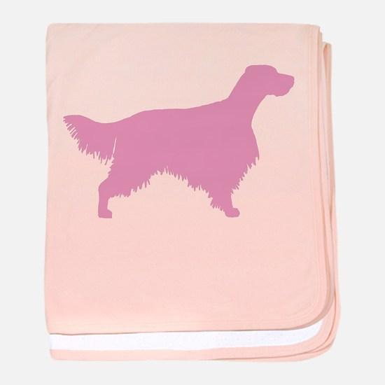 Pink English Setter baby blanket