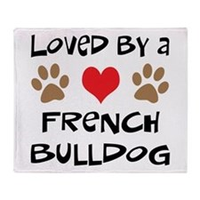 Loved By A French Bulldog Throw Blanket