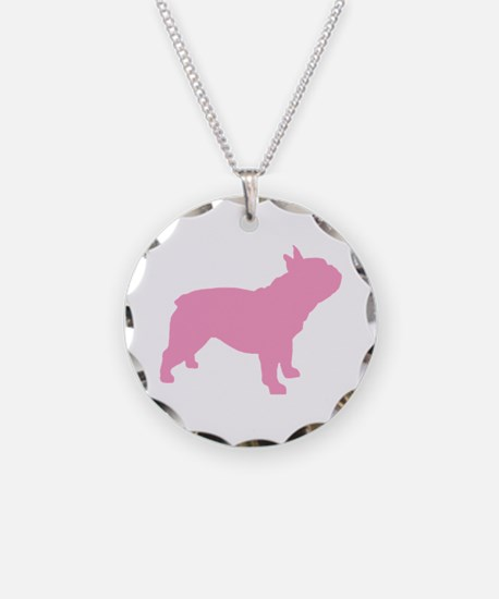 Pink French Bulldog Necklace Circle Charm