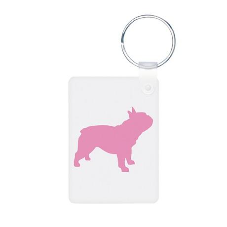 Pink French Bulldog Aluminum Photo Keychain