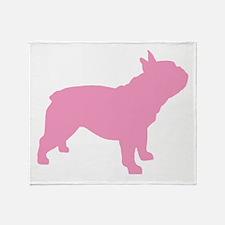 Pink French Bulldog Throw Blanket