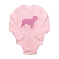 Pink French Bulldog Long Sleeve Infant Bodysuit