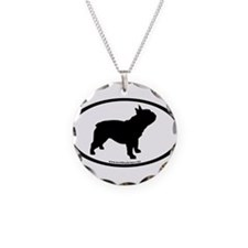 French Bulldog Oval Necklace Circle Charm