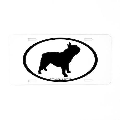 French Bulldog Oval Aluminum License Plate