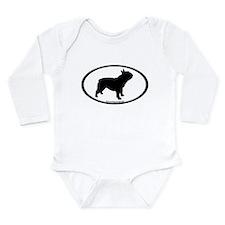 French Bulldog Oval Long Sleeve Infant Bodysuit