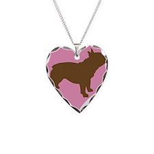 french bulldog & heart Necklace Heart Charm