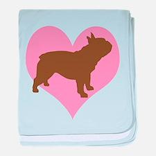 french bulldog & heart baby blanket